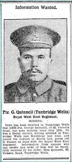 Quinnell George Kent Messenger August 1916